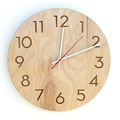 Uncommon Handmade Modern Wall Clock, Natural Birch - Real birch hardwood veneer Made in the USA Laser engraved numerals - wall-clocks, living-room-decor, living-room - 51dT05gI1fL. SS400  -