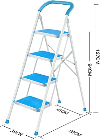 Escalera doméstica Escalera de 4 pasos antideslizante color plata escalera de mano escalera plegable multipropósito - escalera de mano escalera plegable escalera multipropósito (Color : Azul) : Amazon.es: Hogar