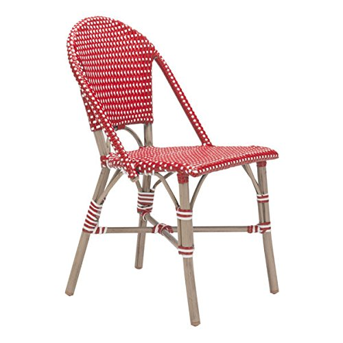 Basketweave Patio Chair (HomeRoots Furniture Paris Dining Chair Red&White)