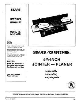 craftsman 149 236321 jointer planer owners instruction manual misc rh amazon com craftsman jointer 113 manual sears jointer manual