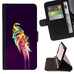 Momo Phone Case / Flip Funda de Cuero Case Cover - Arte del loro Vuelo abstracto púrpura - Samsung Galaxy E5 E500