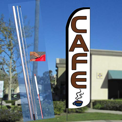 Cafe Windless Feather Flag Bundle (11.5' Tall Flag, 15' Tall Flagpole, Ground Mount Stake)