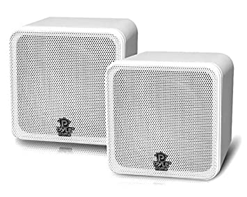 Pyle Home PCB4WT 4 Inch 200 Watt Mini Cube Bookshelf Speaker White