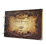 SICOHOME Scrapbook Album,13.6x9.4inch,Our Story Wedding Guest Book