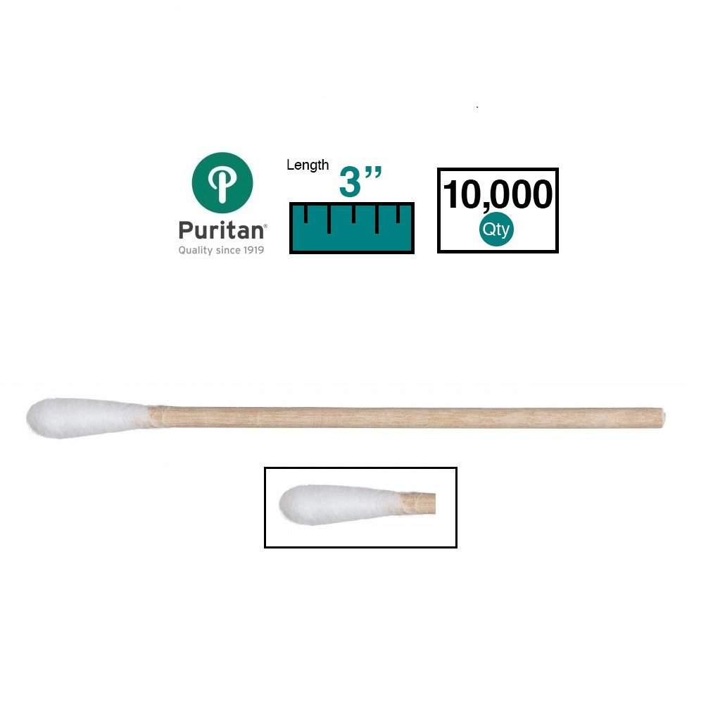 Puritan 3'' Standard Cotton Swab w/Wooden Handle - 803-WC - Case of 10000 by Puritan