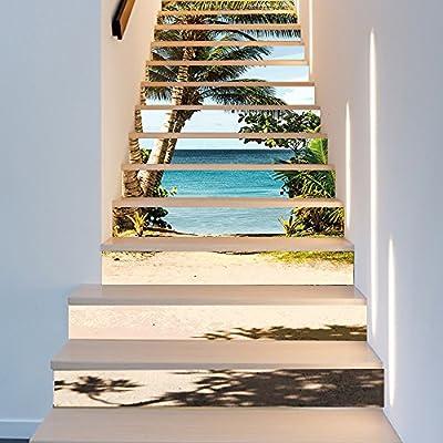 Pegatina de pared ALLDOLWEGE Vinilos Adhesivos Personalizados Adhesivos Puerta del mar 3D Coco Adhesivos Puerta Escalera Desmontable-Style 18 * 100cm*13pcs: Amazon.es: Hogar