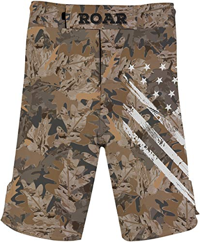 O2TEE Men's American Flag Camouflage Series Fight Shorts for MMA BJJ Sailing
