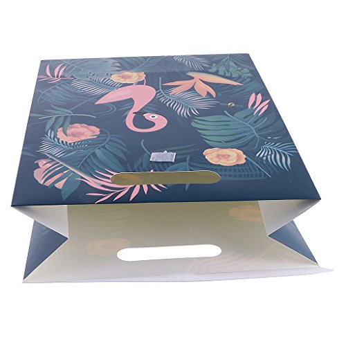 Party Favor Bags Flamingo Paper Gift Bags With Handle Fashion Paper Treat Bags for Parties Shopping Wedding Goody and Loot Bags (L) by NOBBEE (Image #3)