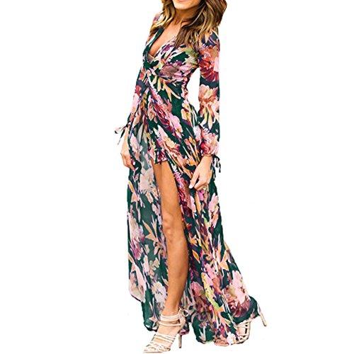 2224b873221 cheap Bodycon4U Women s Long Sleeve Floral Print Bohemian Beach Chiffon Maxi  Romper Dress