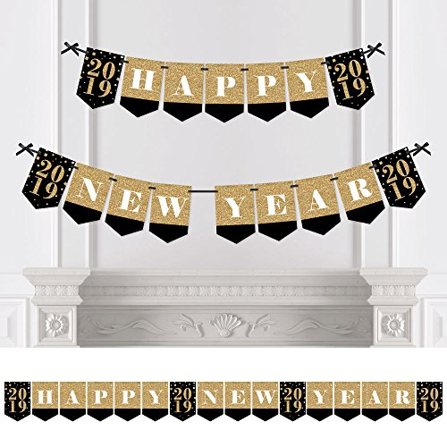 Big Dot of Happiness New Year's Eve - Gold - 2019 New Years Eve Party Bunting Banner - Gold Party Decorations - Happy New Year