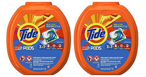 Tide PODS 3 in 1 HE Turbo Laundry Detergent Pacs, Original Scent, 81 Count (2 Tubs)