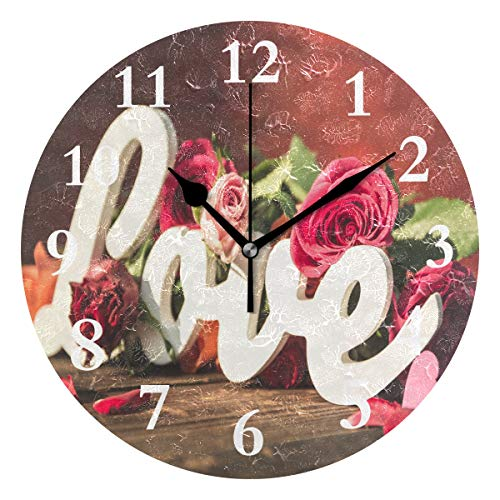 SHNUFHBD Personalized Non Ticking Silent Clock Art Living Room Kitchen Bedroom for Home Decor Wallpaper Love Rose Round Acrylic Wall ()