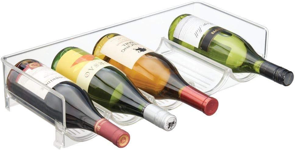 Pr/áctico botellero apilable en pl/ástico para hasta 5 Botellas mDesign Estante para Vino Crema//Beige Manejable Mueble vinoteca para Botellas de Vino y Otras Bebidas