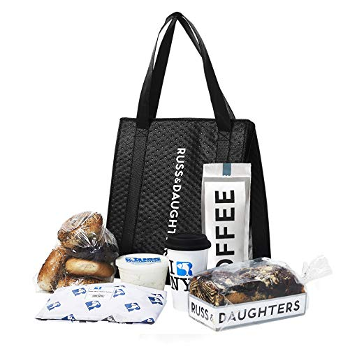 Russ & Daughters New York Brunch: 1lb Gaspe Smoked Salmon, 1lb All Natural Cream Cheese, 6 Assorted Bagels, 1 Chocolate Babka, 1lb Custom Roast Coffee, 1 Ceramic Coffee Cup, 1 Insulated Tote Bag
