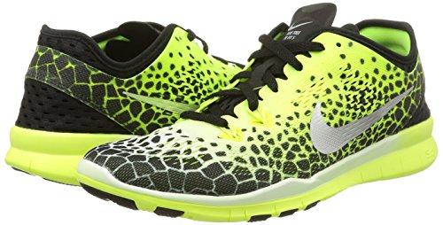 Nike Frauen Free 5.0 Tr Fit 5 Prt Trainingsschuh Frauen US Schwarz / Mtllc Silber / Vlt / Weiß