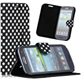 ZuGadgets 7471-3 Black Diary Style Polka Dots Leather Flip Case for Samsung Galaxy S3 i9300 with Free Screen Protector