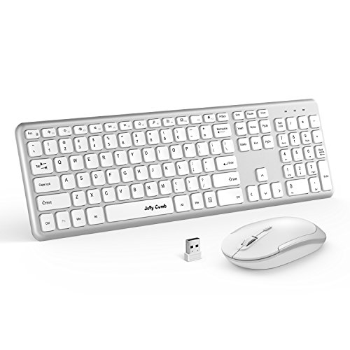 Wireless Keyboard Mouse, Jelly Comb 2.4GHz Ultra Thin Full Size Wireless Keyboard and Mouse Combo Set with Number Pad for Computer, Laptop, PC, Desktop, Notebook, Windows (Full Size - White - Wireless Mouse And Keyboard Cover
