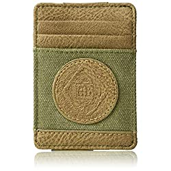 Budweiser by Buxton Men's Eagle Wings Front Pocket Get-Away Accessory, green,