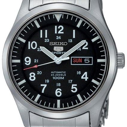 Amazon.com: Seiko 5 AutomaticBlack Dial Stainless Steel Mens Watch SNZG13K1: Seiko: Watches