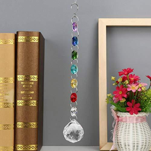 Gotian 1PC DIY Bohemian Clear Crystal Ball Prisms Pendant Hanging Wedding Decor Gift - Transparent Crystal Ball Decoration Office Home Xmas Decor (D) -