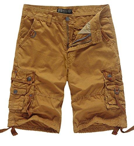 WenVen Men's Casual Cargo Short Pants Military Outdoor Wear Lightweight(WV3233 Yellowish Brown,40)