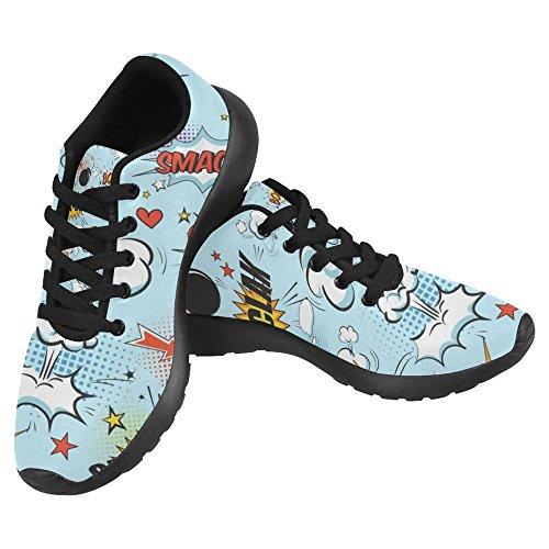 InterestPrint Womens Jogging Running Sneaker Lightweight Go Easy Walking Casual Comfort Running Shoes Comic Speech Bubbles In Pop Art Style With Bomb Cartoon and Explosion Multi 1 JCPJJ1HmMj