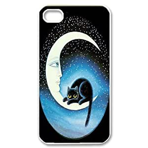 Custom New Cover Case for Iphone 4,4S, Cat, Sun and Moon Phone Case - HL-506142