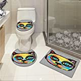 lacencn Cat 3 Piece Extended bath mat set Colorful Dark Paint of a Cute Cat Head with Big Sketchy Eyes Unique Creatures Artistic Work Elongated Toilet Lid Cover set Multi