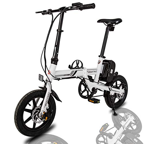 ECOTRIC Portable Electric City Bike Aluminum 14 inch Folding Frame with Detachable 36V/8AH Battery Lithium Battery 250W Motor Suitable for Teen and Adult