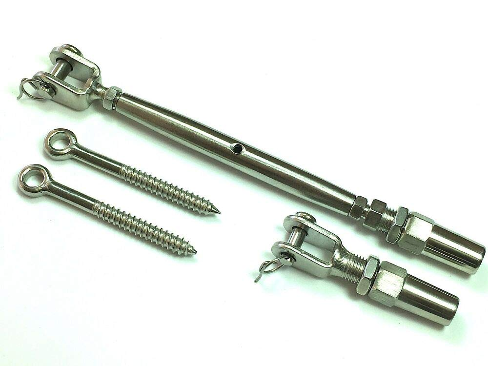 Tensioner Quick Installation Stainless Steel 316 Polished 5/32 Cable Railing Kit.