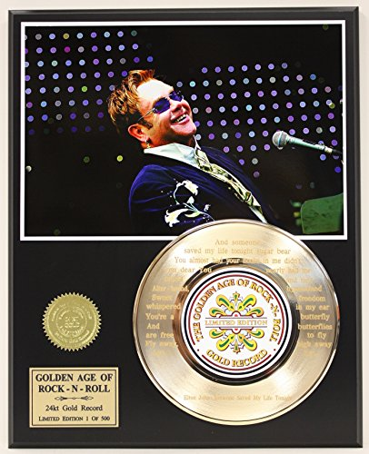 "Elton John Laser Etched With Lyrics To""Someone Saved My Life Tonight"" Limited Edition Gold Record Display from Gold Record Outlet"