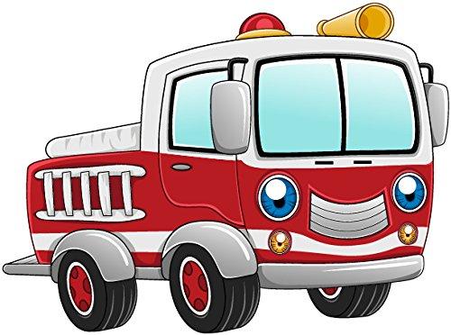 Bambinella® Bügelbild Aufbügler - gedruckte Velour / Flock Applikation zum selbst Aufbügeln - Motiv: Feuerwehrauto - Hergestellt in Deutschland