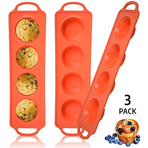 Silicone Muffin Pan & Sturdy Handle, Non-Stick 12 Cupcake Baking Tray- LFGB Approved Dishwasher Safe (3)