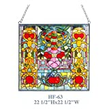 HF-63 Tiffany Style Stained Glass Royal Design Window Round Hanging Sun Catcher, 22.5''Hx22.5''W