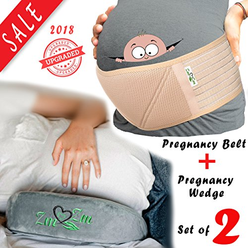 #1 Top Recommended Maternity Belt & Wedge Pillow Set to Ease Pregnancy Discomfort and Lower Back and Pelvic Pain - (Bundle-3 Items:Belly Band (Memory Foam)+ Wedge Pillow + Clear PVC Carrying Bag)