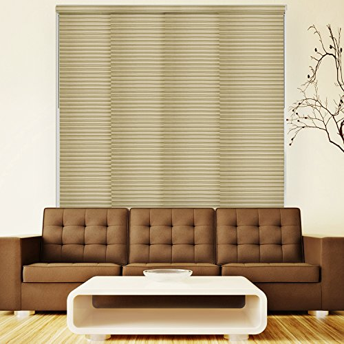 Chicology Deluxe Adjustable Sliding Panels / Cut to Length, Curtain Drape Vertical Blind, Light Filtering, Privacy - Tahini Taupe (Cheap Vertical Blinds For Patio Doors)