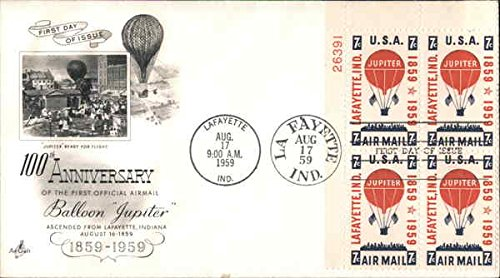 100th Anniversary of the First Official Airmail Balloon Jupiter 1859-1959 Plate Block of Stamps Original First Day (Official Plate Block)