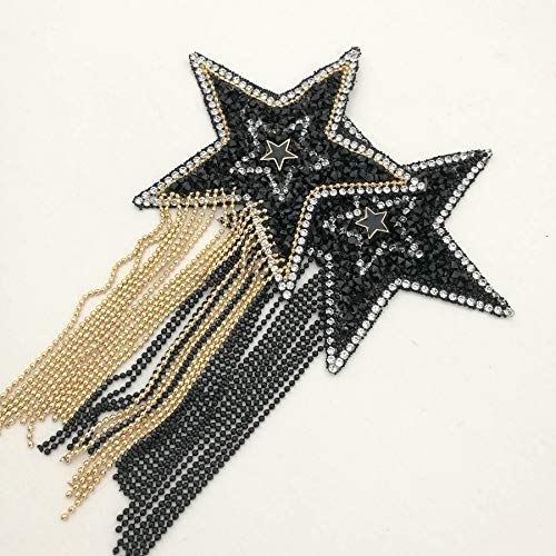 4PCS 2 Color Mix Sparkling Rhinestone Star Pattern Clothes Patches Iron on Fashion Appliques with Chains Tassel Badge