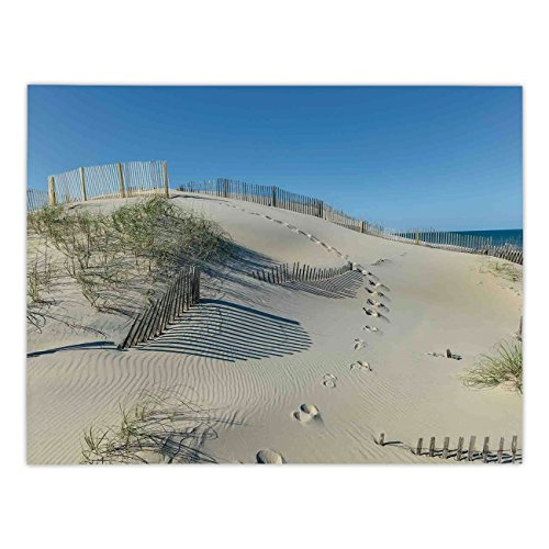 iPrint Rectangular Satin Tablecloth,Beach,Sand Dune with Grasses and Fence Coastline Recreation Fantastic Peaceful Space Earth,Cream Blue,Dining Room Kitchen Table Cloth Cover