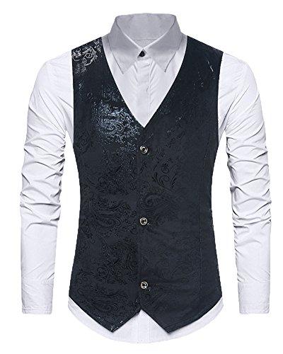 Impression Élégant De Gilet Mince Homme Sans Costume Nuit Shifan Noir Boîte V Casual Manche Col qxERnwBF8