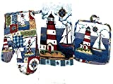 Capes Treasures Nautical Summer Kitchen Set - Dish Towel, Pot Holder, and Oven Mitt (Sailboat and Lighthouses)