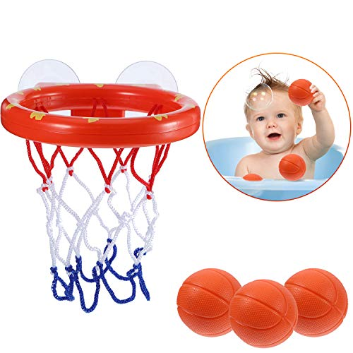 (Jovitec Basketball Hoop and Balls Playset for Boys and Girls Bathtub Shooting Game Bath Toy for Kids and Toddlers Gift Set, Suctions Cups That Stick to Most Smooth Surface (3 Balls Included) )