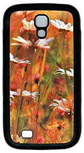 Brian114 Samsung Galaxy S4 Case, S4 Case - Protective Skin Black Soft Rubber Case for Samsung Galaxy S4 I9500 Summer Flowers Pattern Case Cover for Samsung Galaxy S4 I9500