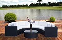 Outdoor Patio Furniture Wicker Sofa Sectional Round 5pc Resin Couch Set from Mango Home
