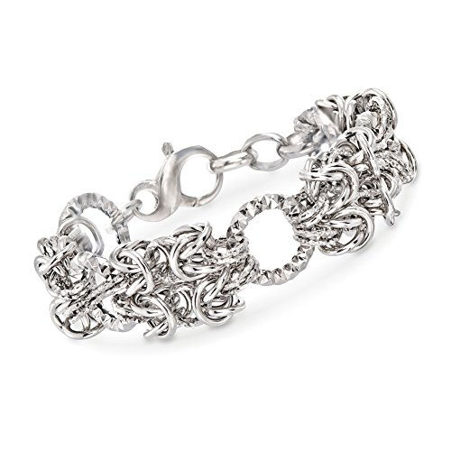Sterling Silver Byzantine and Textured Circle Bracelet ()