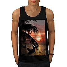 Sunset Palm Tree OceanBeach Men NEW Black S-2XL Tank Top | Wellcoda