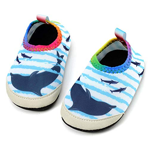 - Panda Software Baby Boys Girls Water Shoes Infant Barefoot Quick -Dry Anti- Slip Aqua Sock for Beach Swim Pool Stripe-Dolphin/0-6 Months M US Infant