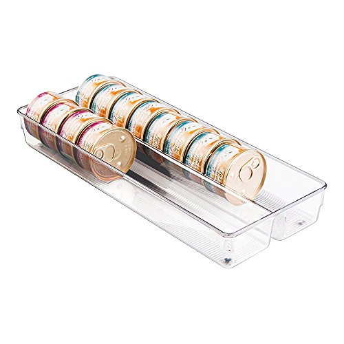 mDesign Kitchen Plastic Organizer Tray with Dual Compartments for Storage of Canned Cat, Dog or Pet Food - Large - Clear