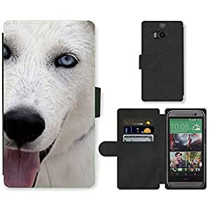 Hot Style Cell Phone Card Slot PU Leather Wallet Case // M00112952 Dog Hundeportrait Tongue White Fur // HTC One M8