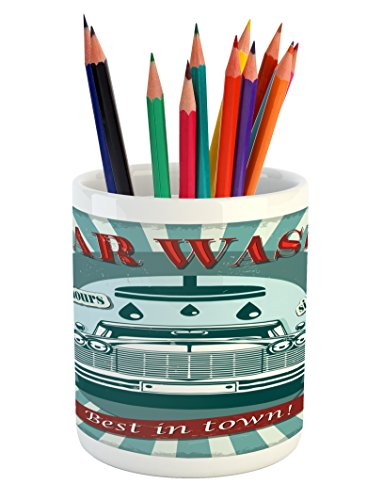 Ambesonne Retro Pencil Pen Holder, Vintage Graphic Design for a Car Wash Sign Commercial with Aged Classic Retro Arsty, Printed Ceramic Pencil Pen Holder for Desk Office Accessory, Red Teal by Ambesonne